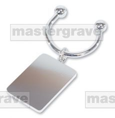 Silver plated rectangular keyring.  Metaza friendly gifts. Engravable gifts.
